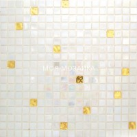 Мозаика MIX Gold Night White 15х15х4 mm
